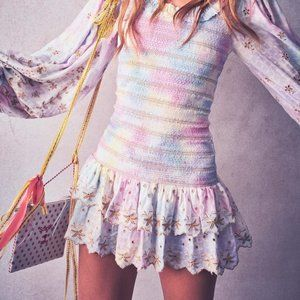 NWT LoveShackFancy Celia dress multicolor dyed L
